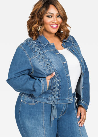 Lace-Up Long Sleeve Jean Jacket