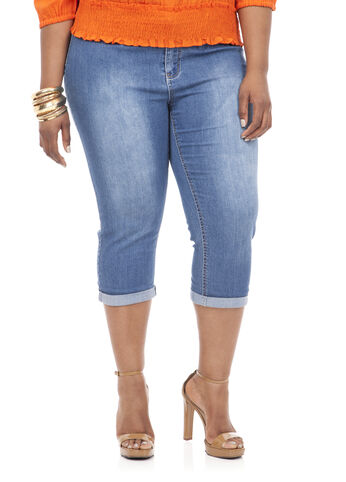 21inch Denim Capri with 1inch Cuff