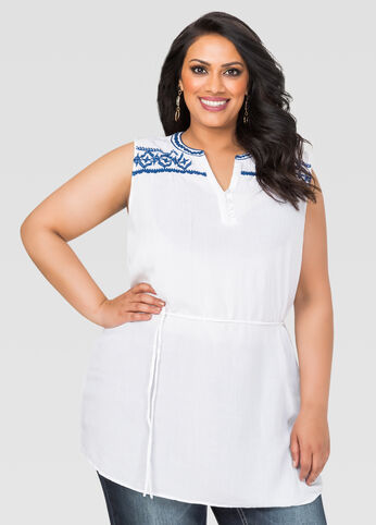 Belted Embroidered Gauze Tunic