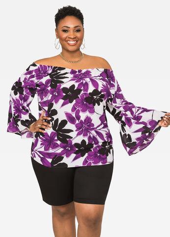 Floral Drama Sleeve Peasant Top Purple Magic - Tops