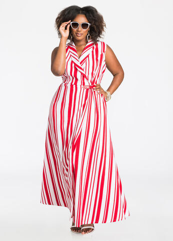 Americana Side Buckle Striped Maxi Dress