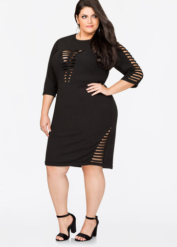 Open Cage Front Sheath Dress