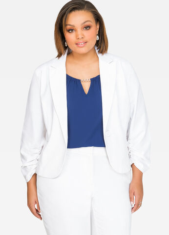 Sateen Single Button Blazer