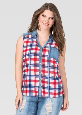 Denim Trim Plaid Shirt