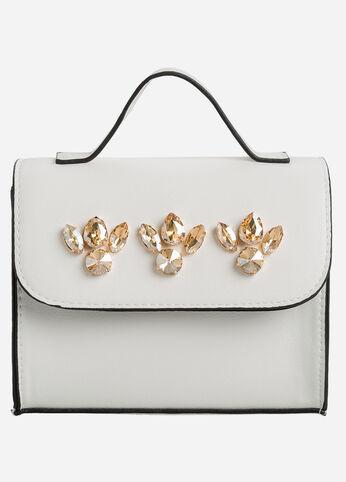 Gold Stone Flapover Shoulder Bag