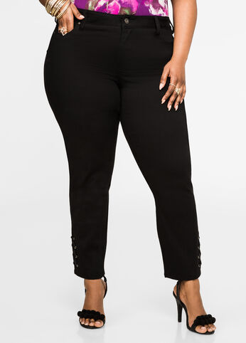 Lace-Up Ankle Skinny Jean Black - Clearance