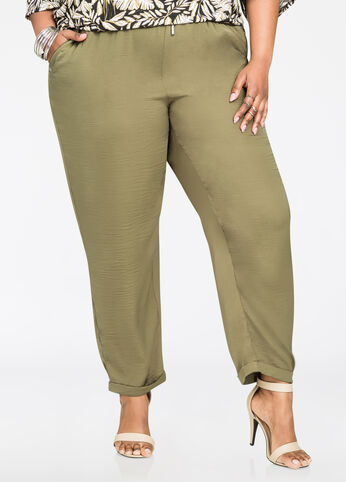 Satin Jogger Olive Night - Bottoms