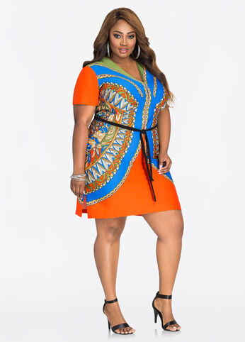 Short Sleeve Belted Dashiki Dress