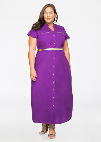 Belted Linen Maxi Dress Purple Magic - Clearance