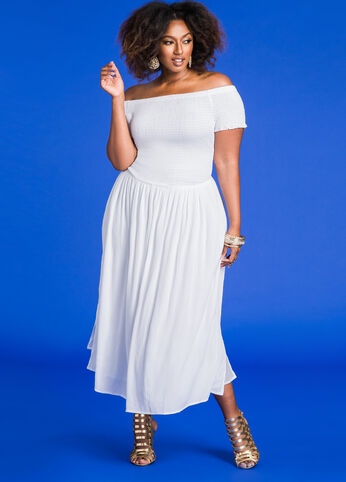 Smocked Top Off-Shoulder Maxi Dress White - Dresses