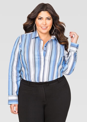 Ombre Stripe Button Front Shirt