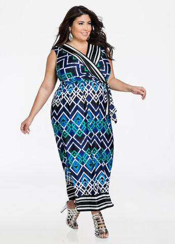 Grid Geo Print Surplice Maxi Dress