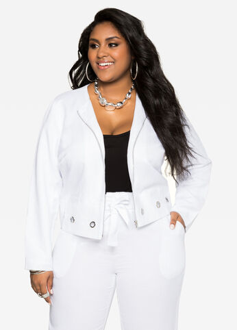 Grommet Linen Jacket White - Clearance