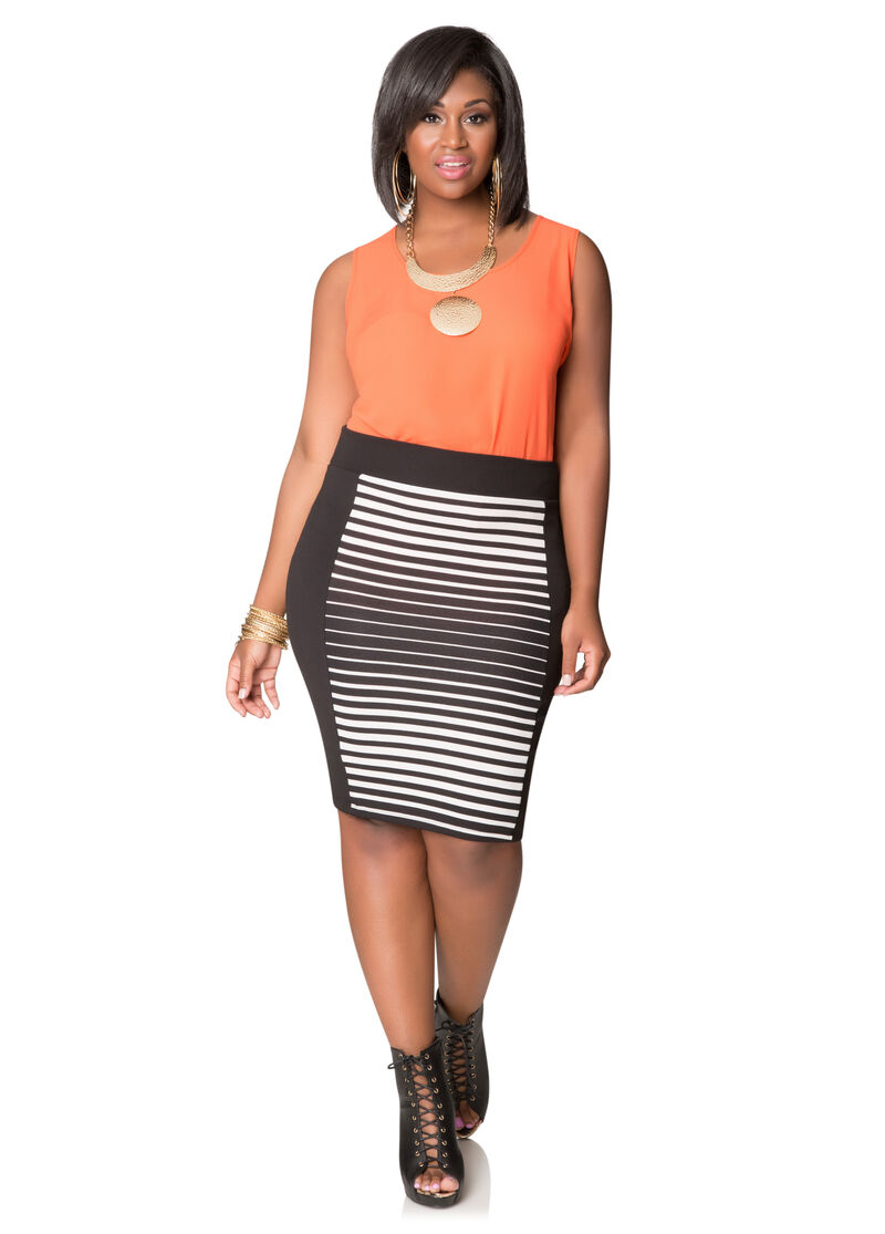 Stripe Pencil Skirt 30