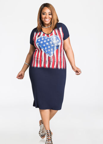 American Flag Heart T-Shirt Dress Medieval Blue - Dresses