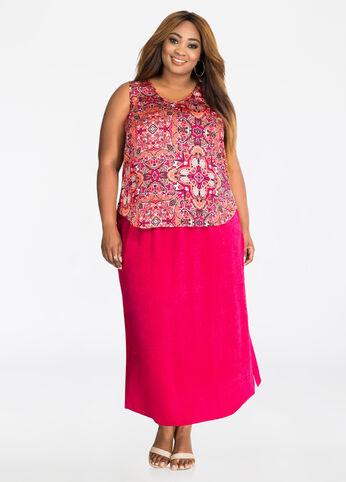 Washed Satin Side Slit Maxi Skirt