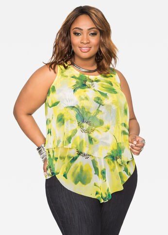 Asymmetrical Sheer Floral Mesh Top