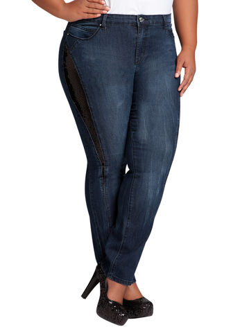 Sequin Accented Skinny Jean