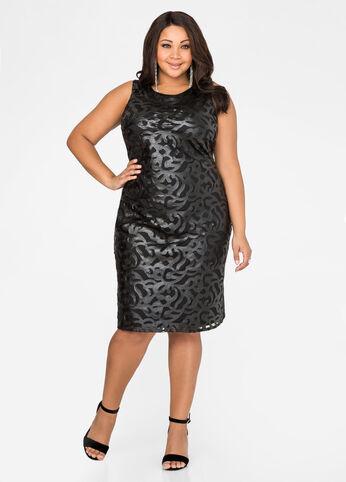 Faux Leather Brocade Sheath Dress
