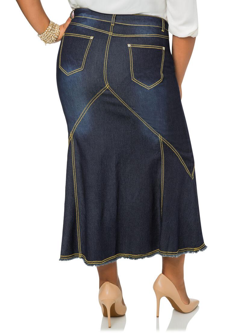 contrast stitch denim jean skirt plus size denim
