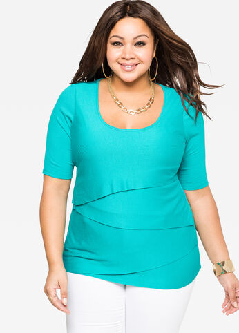 Tiered Ribbed Knit Top Viridian Green - Tops