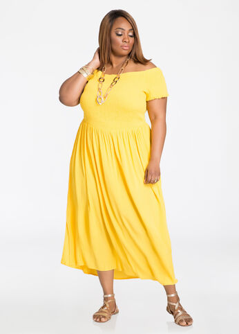 Smocked Top Off-Shoulder Maxi Dress Solar Power - Dresses