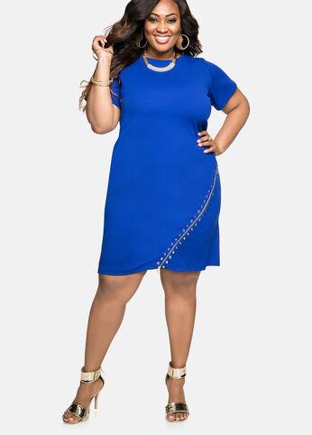 Stud Exposed Zip Sheath Dress
