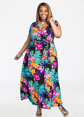 Surplice Front Colorful Floral Maxi Dress