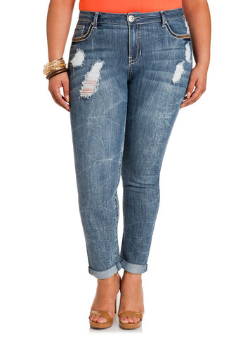 Marble Wash Ankle Skinny Jeans