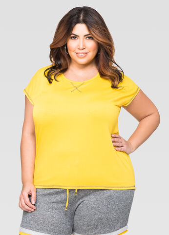 Contrast Stitch Active Top