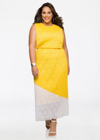 Allover Lace Colorblock Maxi Dress White - Dresses