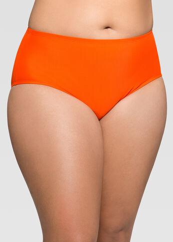 Solid Tangerine High Waist Bikini Bottom