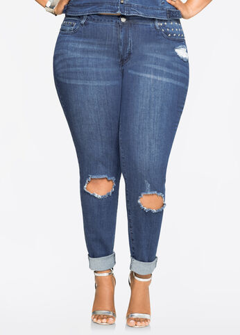 Stud Detail Ripped Skinny Medium Blue - Clearance