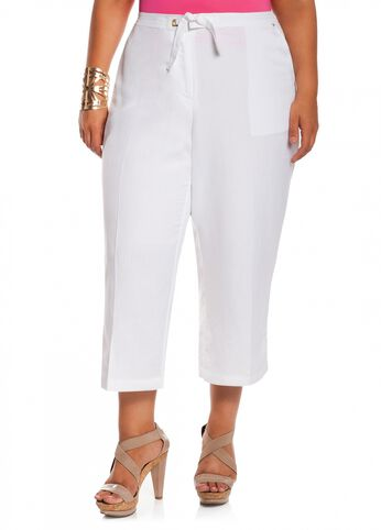 Grommet Linen Capri Pants