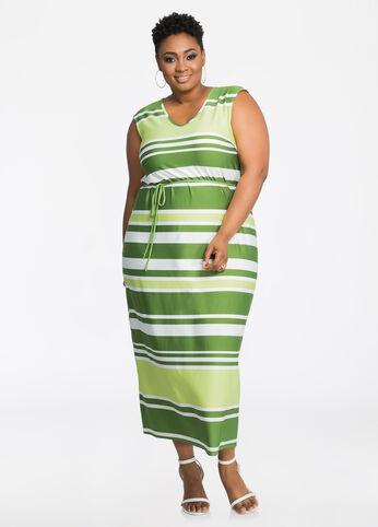 Striped V-Neck Tie Waist Maxi Dress