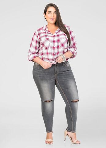 Grey Wash Slit Knee Skinny Jean