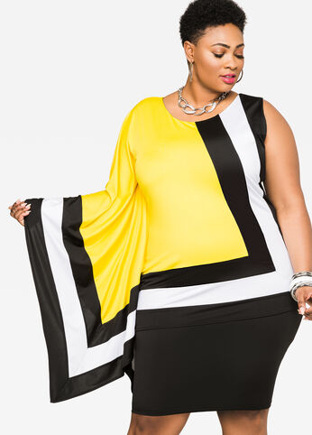 Poncho Sleeve Colorblock Dress