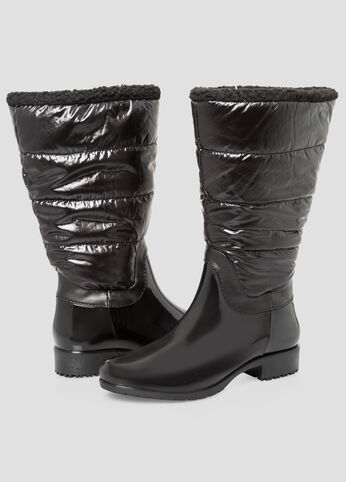 Patent Shearling Snow Boot - Wide Calf, Wide Width Black - Shoes