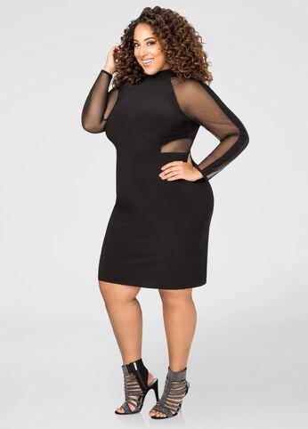 Mesh Sleeve Little Black Dress