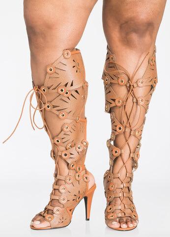 Snake Print Grommet Gladiator Heel - Wide Width