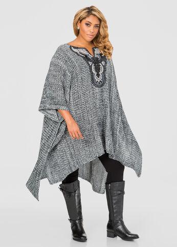 Embellished Poncho Sweater