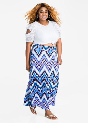 Side Slit Watercolor Print Maxi Skirt