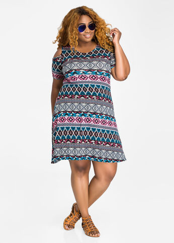 Tribal Print Cold Shoulder Swing Dress