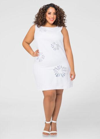 Floral Cut-Out Linen Shift Dress