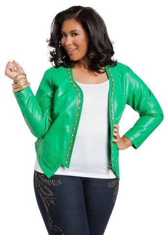 Embellished Faux Leather Jacket