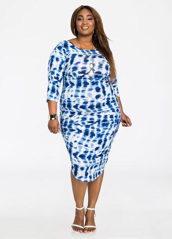Deep Back Ruched Side Print Dress