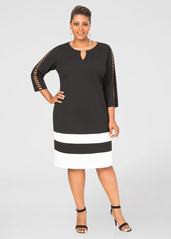 Crepe Lattice Sleeve Sheath Dress