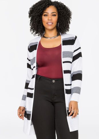 Striped Open Front Hi-Lo Cardigan