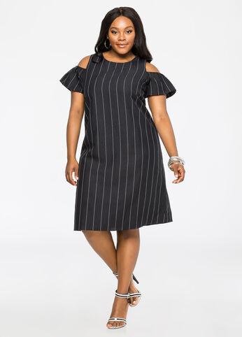 Striped Cold Shoulder Linen Dress
