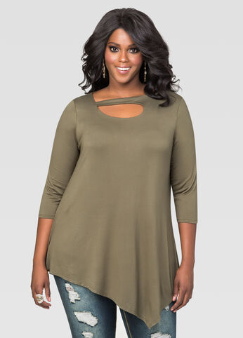 Asymmetrical Front Cut-Out Tunic